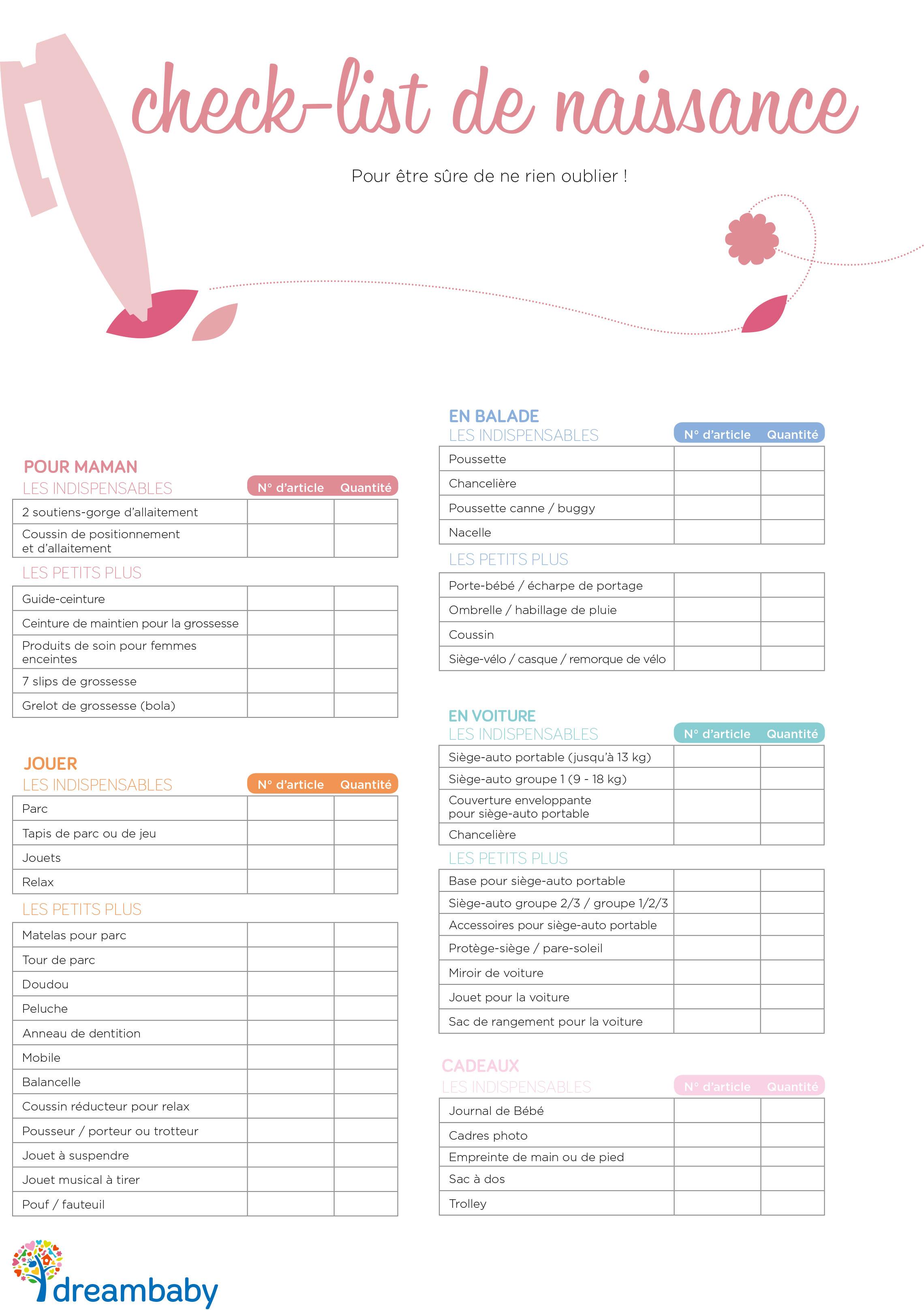 indispensable liste de naissance